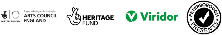 Logos - Arts Council England; Heritage Fund; Viridor; Peterborough Presents.